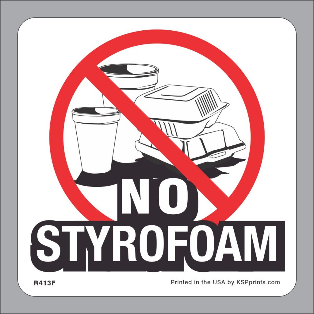 No Styrofoam Accepted Sticker